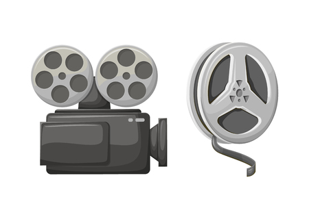 Camera filming technology vector, isolated icon of bobbins with tape. Cinematography equipment for making movies, retro old vintage objects from cinema