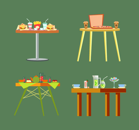 Tables restaurants, pizzeria cafes design vector. Isolated desks with food cheeseburger, and french fries fried potatoes, ice cream and pizza in box
