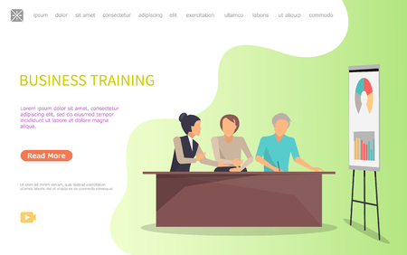Business training of workers, whiteboard and charts vector. Infographics with explanation on board, company seminar conference of people learning. Website or webpage template landing page in flat Çizim