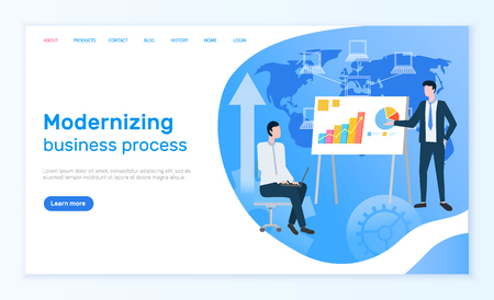 Modernizing business process online info page vector. graphic and charts or diagrams on presentation, businessmen and world map, man with laptop on chair. Website or webpage template landing page
