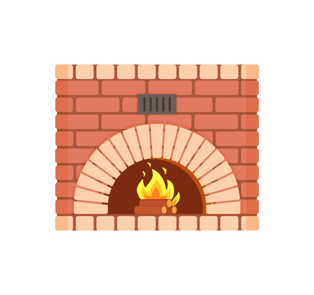 Fireplace of fireproof brick, arch hearth, brickwork piece of furniture home decoration. Wooden logs and bright burning fire vector isolated icon