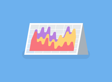 Information in visual representation vector, paper table card. Statistic and results of business project. Abstract segments, charts and graphs in flat style  イラスト・ベクター素材