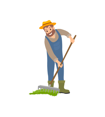 Farming man with rake working on land isolated icon vector. Farmer spreading compost on soil ground to have good harvest. Agricultural farming work 일러스트