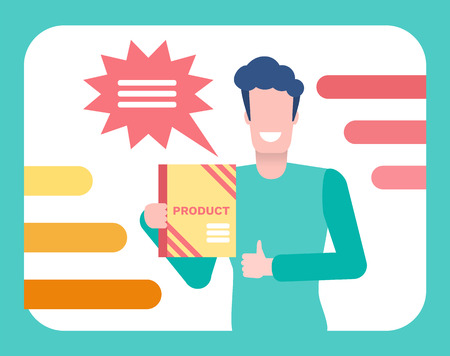 TV promotion and broadcasting vector. Advertisement with man host of show presenting item for sale, mass media, television program for rapid marketing
