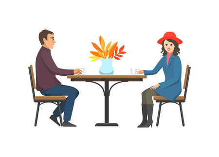 Cafe tables and couple relaxing outdoor, talking and drinking tea or coffee. Desk with vase and autumn leaves decoration. Man and woman sitting vector