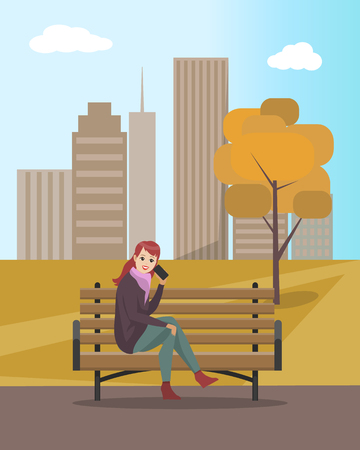 Woman lady talking on mobile cell phone sitting on wooden bench vector. Tree with dry leaves and foliage. Female communicating, skyscrapers and sky 向量圖像