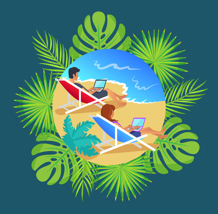 Distant workers sitting in hammocks vector. Professional experts workplace at seaside, seascape and beach. Monstera leaves and palm trees in frame