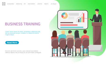 Business training seminar and conference in office vector. Businessman with presentation on whiteboard, explaining main concepts and new solutions. Website or webpage template landing page in flat