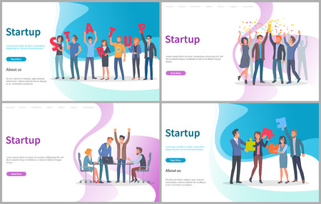Startup new project beginning vector, launching innovative solution. Conference with brainstorming and finding decision, success in office, jigsaw. Website or webpage template, landing page flat style Illustration