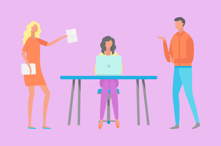 Woman sitting at table between workers, working process with laptop, female with papers, man rising hand. Teamwork communication in office vector Ilustração