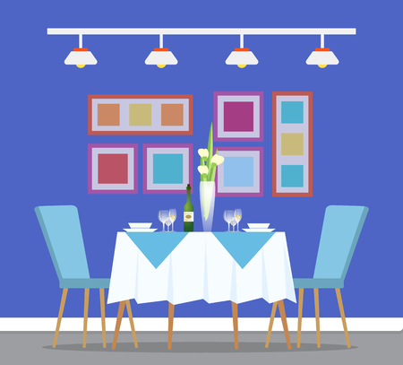 Table and dinner setting, restaurant interior design and furniture vector. Bowl and plate, glasses and champagne or wine, tulips in vase, pictures on wall Vettoriali