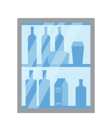 Refrigerator with bottles and packages vector. Isolated icon of fridge with arranged products placed on row. Beverage milk and juice packs, drinks