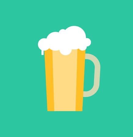 Mug of beer with froth vector isolated icon. Cold refreshing drink in glass container, breweri product with foam, oktoberfest symbol with bubbles Illustration