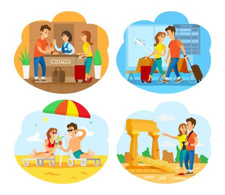 Ruinas del vector de la ciudad vieja, personas que viajan juntas, pareja junto al mar. Costa con arena y agua de mar, prisa en llegadas al aeropuerto, turismo de turistas Ilustración de vector