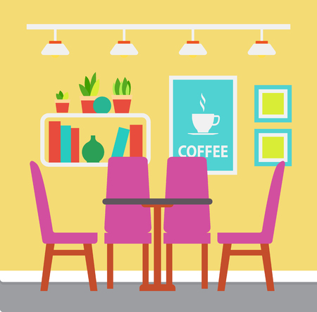 Interior of room, accommodation decorated with picture, bookshelf with plants, table with purple chairs and chandelier. Colorful design of placement vector