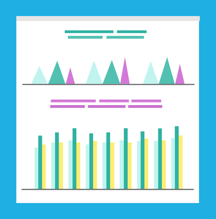 Information in visual form on documents vector. Info about business project results, flat style infographics and infocharts with explanation on board