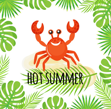 Hot summer vector, red crab with smiling face. Exotic holidays, monstera and palm leaves greenery, hawaiian wildlife, flora and fauna. Shellfish cartoon