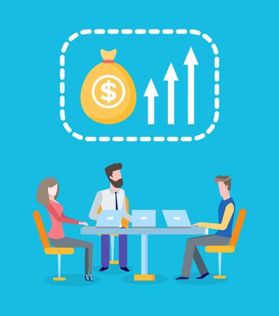 Teamwork, Gewinnwachstum, Geschäftsarbeiterteam mit Laptopvektor. Geld und Verdienst, Entwicklung und Vermehrung, Unternehmer mit Computern am Tisch