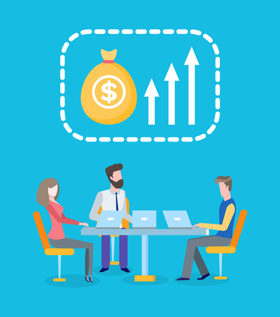 Teamwork, profit growth, business workers team with laptops vector. Money and earning, development and increase, entrepreneurs with computers at table