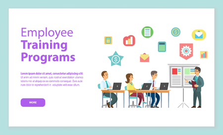 Employee training programs website, workers sitting at table with laptop and listening man near board, teamwork discussing, portrait view of people vector Illustration