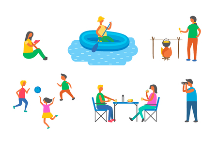 People on picnic and camping vector, pastime free time. Playing children with ball, man in inflatable ship sailing, woman reading, cooking and eating