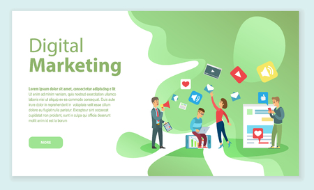 Boss with employees working on digital marketing and promotion vector. Web page with info, workers with laptop and gadgets, social media and videos Illustration