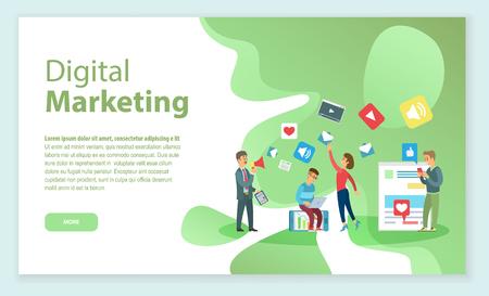 Jefe con empleados que trabajan en vector de promoción y marketing digital. Página web con información, trabajadores con laptop y gadgets, redes sociales y videos.