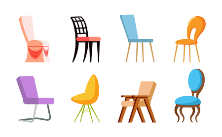 Chairs with back, side and front view, wood and metal, plastic kinds of colorful place for sitting, soft element of furniture. Design of seat vector