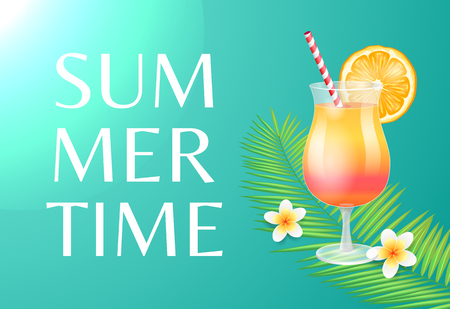 Summer time beach party theme banner, vector placard sample. Cocktail in tumbler with straw and orange slice decor, exotic flowers on palm leaves