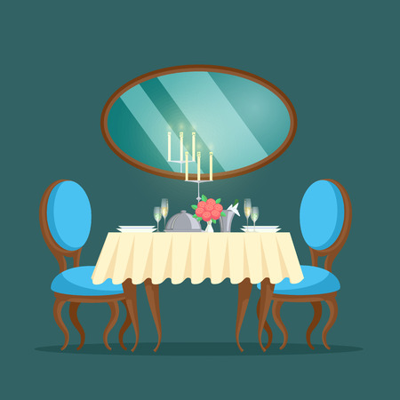 Restaurant with luxury interior and mirror place to eat vector. Candles and empty plates with glasses, vase with flowers red roses and prepared food