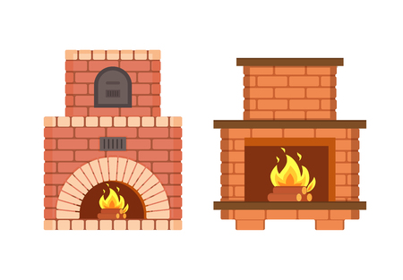 Fireplace made of bricks, redbrick furniture isolated icons set vector. Stove with metal doors burning logs, heating system of home, warming up in winter