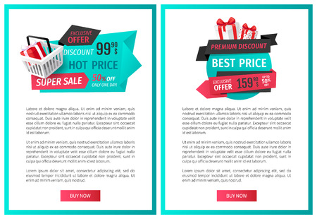 50 percent reduced cost, present with bow. Good bargain, special shop deal. Mega sale, limited time only isolated present label web page template vector.