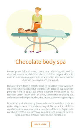 Chocolate body spa web poster with text. Girl covered by lotion on back lying on table, cosmetician makes procedure by streaming cacao on skin vector