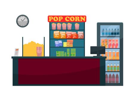 Comptoir de cinéma du vecteur vendeur, des collations et des boissons. Nutrition pendant le visionnage de films, pop-corn et bouteilles avec jus et soda, chips de pommes de terre frites