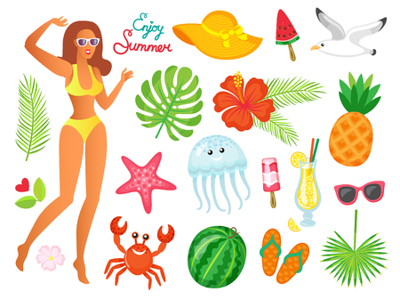 Woman enjoying summer vector, hat accessory. Watermelon and palm monstera leaves. Seagull bird and starfish, flip flops, crab and ice cream dessert Vectores