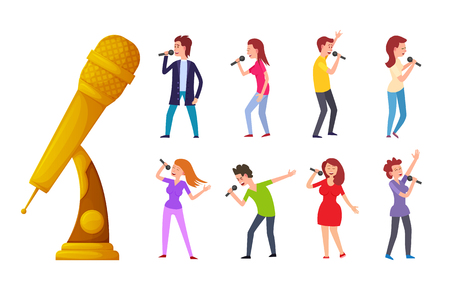 Cartoon style woman and man singing with mics. Reward for best song contest. Music trophy vector, gold award microphone and singers isolated people