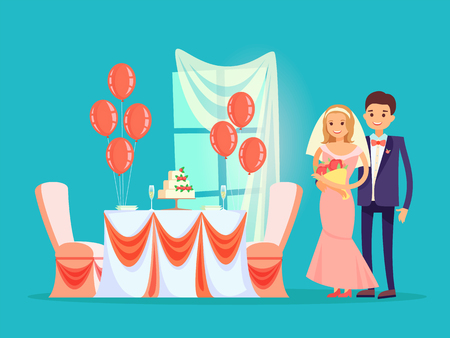 Wedding reception at restaurant vector, bride and groom by table with served cake of strawberries. Balloons and veil on window, marriage of people Foto de archivo - 125106954