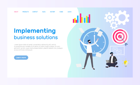 Implementing business solution vector. People working in area of management, developer with laptop. Time deadline coping with tasks employee at work. Website or webpage template landing page in flat Stock Illustratie