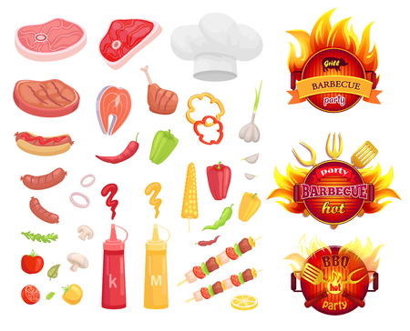 BBQ barbecue party icons set vector. Frying pan in fire and spatula with fork. Meat types and vegetables, veggies and pork, beef and roasted salmon Illustration