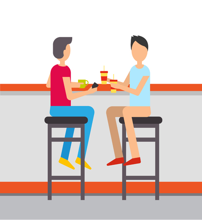 Fast food restaurant vector, people drinking soda and tea from mug and plastic cup. Friends spending time in cafe relaxing from work, male on chairs Stock Vector - 117309975