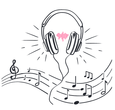 Headphones and sheet music with notes, monochrome sketches outline isolated vector line art. Headset earphone with adjustable headband, stereo audio volume Banque d'images - 125057187