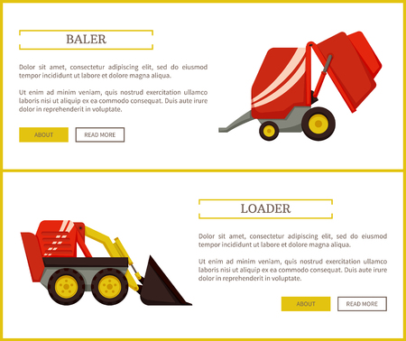 Loader and baler, posters with text sample set. Agricultural machinery for farming works. Agro mechanisms for transporting and compressing vector Foto de archivo - 125057188