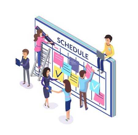 Planung des Teams, Leute mit Zeitplan und Notizen an Bord geklebt. Arbeiter organisieren Zeitvektor. Memos für Mitarbeiter, die Stundenpläne an der Wand erstellen