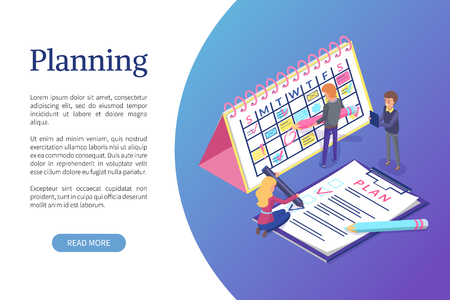 Planning of schedule and working tasks optimization vector. Weekly organization of timetables and appointments. People workers writing plans on board Ilustração