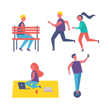 Running people couple and freelancer working on laptop isolated icons set. Man sitting on bench, person riding hoverboard, female and males vector