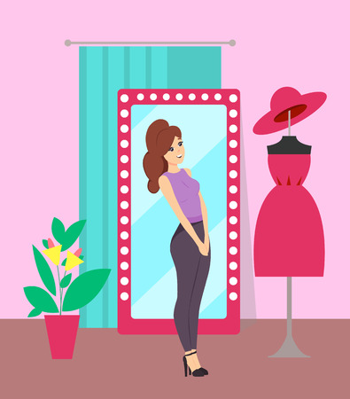 Woman looking at mannequin with dress in clothes store vector. Lady shopping, buying new clothing and hat. Shop with changing room, mirror and plant
