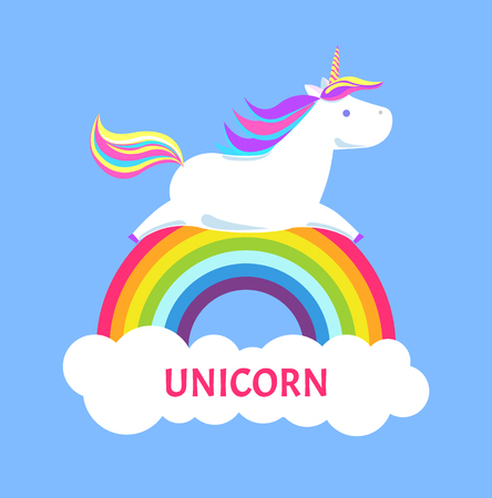 Horned pony unicorn with color mane and sharp horn lying on rainbow. Mysterious horse from fairy tales or legends. Childish animal vector testing, sign icon