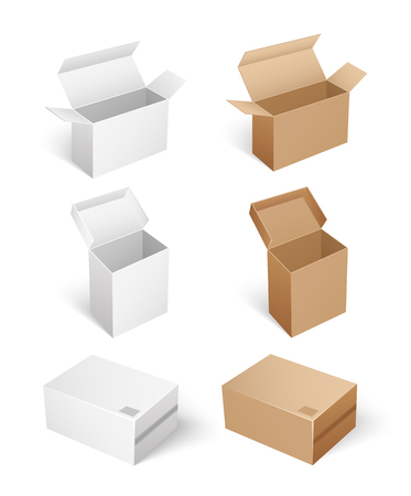 Square shaped carton boxes for products keeping and storage. Compact products for shipping. Package with caps empty containers isolated icons set vector