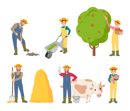 Farmer farming people isolated icons set vector. Woman gathering apples from fruit tree. man with hayfork by bale of dry grass, male with cow and milk Illustration
