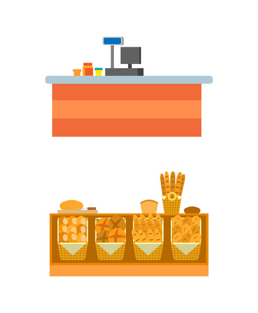 Supermarket empty seller counters and desks of cashier vector. Shelves with bread and pastry, bakery shop shelves with rolls and buns, long loaf and cakes Illustration